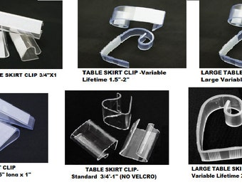 TABLE SKIRT CLIPS w/ velcro and no velcro in 5 different sizes
