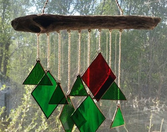 Stained glass driftwood suncatcher