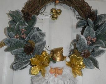Gold santa twig wreath