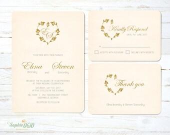 printable vintage papyrus wedding invitation with golden heart framed monogram digital files - Papyrus Wedding Invitations