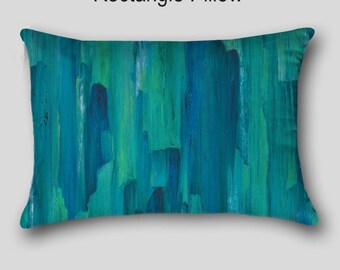 Designer throw pillow, Teal turquoise blue green, Home decor, Abstract art, Decorative Accent Pillow finished, Cover Case Sofa cushion Couch