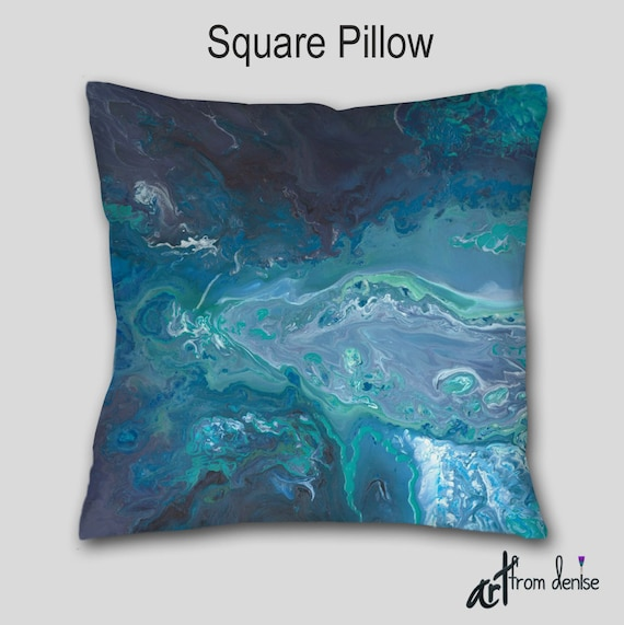 turquoise gray throw pillow teal blue aqua abstract 87871
