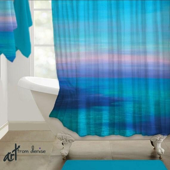 shower curtain teal turquoise aqua navy blue violet beach