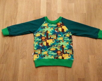 Baby sweater, baby sweater, jungle animals, organic knit fabric, size 62 to 116, boys and girls, for image size 80