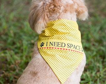 I Need Space dog bandana Yellow