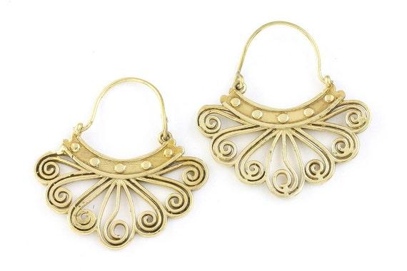 Brass Jaipur Earrings, Tribal Brass Earrings,  Festival Earrings, Gypsy Earrings, Ethnic Earrings