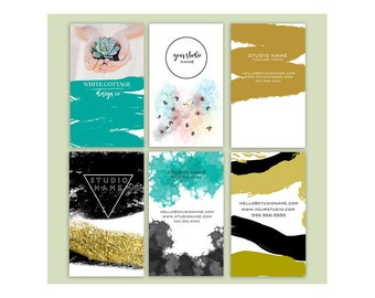 Set of Pre made watercolor brush business card design template-Set of 6 card designs-Photography calling cards