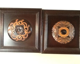 Exotic Hand-carved wooden wall plaques (Pair)