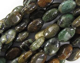 """14mm snake skin jasper flat oval beads 16"""" strand 18825"""