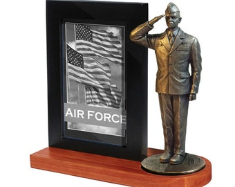 Air Force Photo Frame - 4x6 photo frame with a 7 inch statue of an US Air Force crewman. Cherry Finish Base MD109W