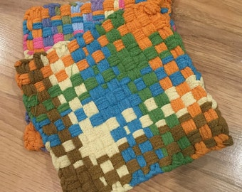 """Pot Holder, Hot Pad, Loom Woven, """"Spring Picnic"""" set of two"""