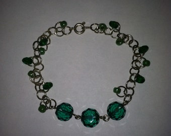 Wire and Beaded Bracelet, emerald crystal bead, and seed bead