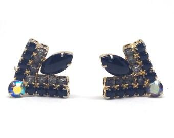 Juliana DE AB Rhinestone Black Cab Bug Vintage Estate  Clip Earrings