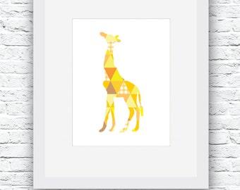 Giraffe Printable Art, Yellow Giraffe, Giraffe Print, Giraffe Wall Decor, Giraffe Art, Giraffe Nursery, Nursery Room Decor, Giraffe poster