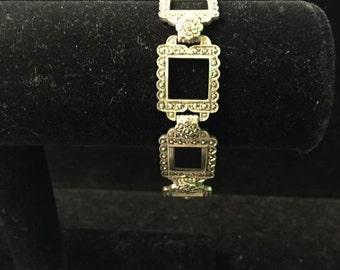 Vintage Sterling & Marcasite Bracelet