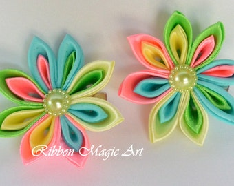 Girls Hair Clips, Set of 2 clips, Hair Accessories, Kanzashi style flowers,