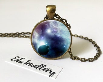 Space Pendant, Cosmos, Galaxy, Universe, Planet, Star Jewellery