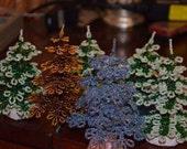 Miniature Christmas Tree Beaded Christmas Tree Tabletop Gold Christmas Tree Holiday Tabletop Decor Christmas Centerpiece / Beaded Tree