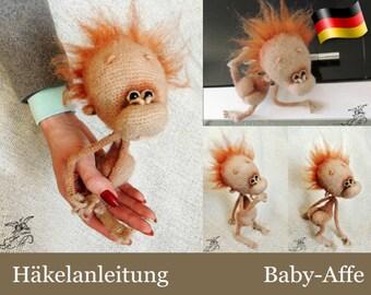 084DE Häkelanleitung - Baby-Affe Amigurumi Pdf Pertseva Etsy