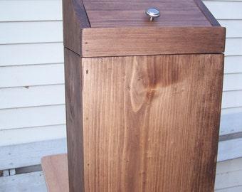 Potato/Trash Bin Solid Knotty Pine Rustic Walnut Color/Mineral Green