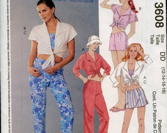 Summer Clothes Pattern, McCall's Capri Pants and Shorts, Tie Front Shirt, Midriff Top, Factory Fold Excellant Condition, Size 12 to 18