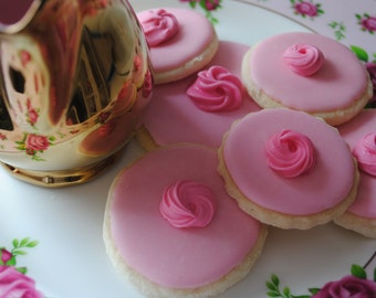 Pink Biscuits/Cookies/Edible Gift/Wedding Biscuits/Tea and Biscuits/Mum/Friends/Pink Gift