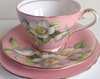 Vintage Aynsley 1930s Pink Tea Cup & Saucer Trio Bone China
