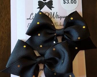 Pair of mini cheer bows polka dot