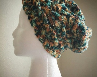 Knitted satin lined slouchy cable beanie