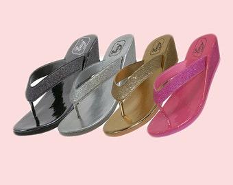 Glitter Bridal / Bridesmaid / Wedge Wedding Sandals, Flip Flops