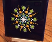Mandala handpainted tile. Desktop art.