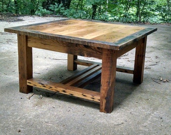 Wormy Chestnut Coffee Table with Rustic Barn Wood Frame