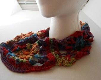 Multicolor Lacy Granny Square Crocheted Cowl