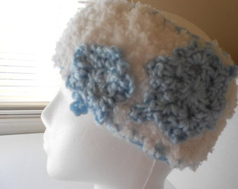 Fleecy Crocheted Headwrap with Snowflake