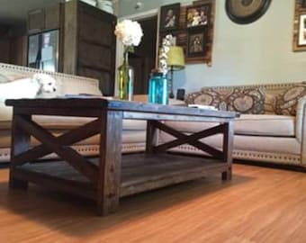 Rustic distressed X frame coffee table