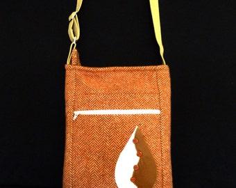 Tan Herringbone Cross Body I Pad/Tablet Messenger Bag
