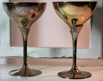 Leonard, Silver Wine Goblets, EPNS,  Two Tone, Toasting Stems, Wedding Stems, Vintage Wedding