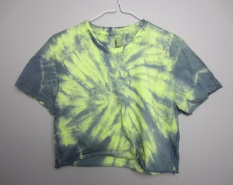 Green/Indigo Tie Dye Crop Short Sleeved Cotton Tee Women's Large