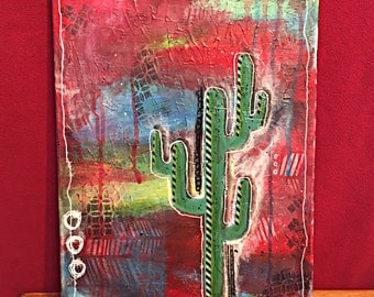"Cactus, Original Mixed Media Canvas, 12""x16"""