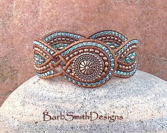 Blue Copper Beaded Leather Cuff Wrap Bracelet - The Twisted Sister in Copper