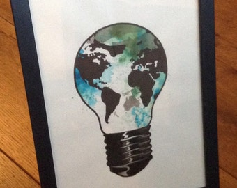 Original watercolor tattoo design world map in light bulb