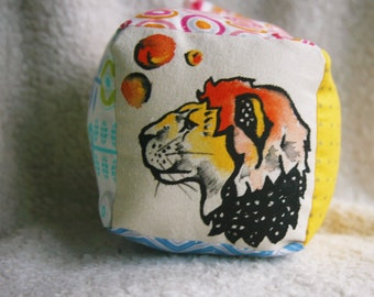 Colorful Baby Block, Bright Lion Baby Block, Custom Hand Painted Baby Toy