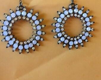 Large black and rhinestone earrings