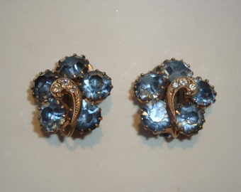 Deep Sky Blue Rhinestone Clip Earrings