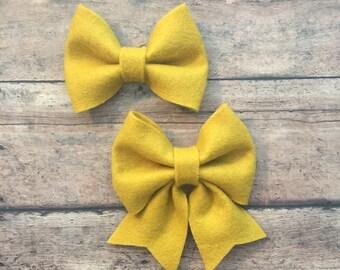 Large Mustard Yellow Felt Bow on Metal Clip, Elastic Headband, or Hair Tie; Buy 3 Get 1 Free! Mustard Yellow Hair Bow, Large Felt Hair Bow