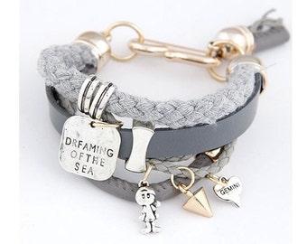 Leather  and Tassel Charm Bracelet
