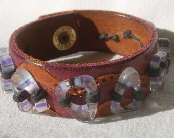 """Leather and glass bracelet """"Glass on a Beach"""""""