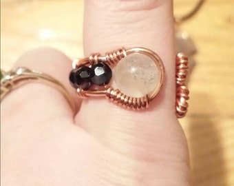 Gemstone wire wrapped ring