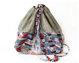 Bag shoulder bag grey blue patchwork