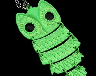 Owl Pendant Necklace Neon Green